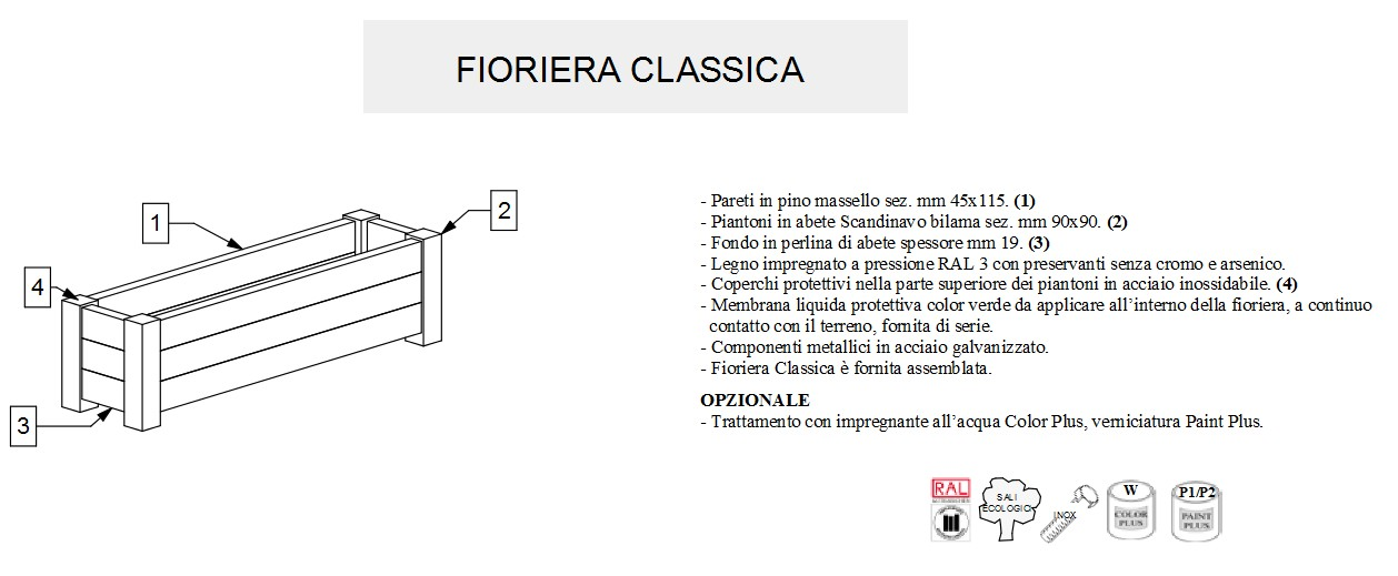 Fioriera modello CLASSICA-3130