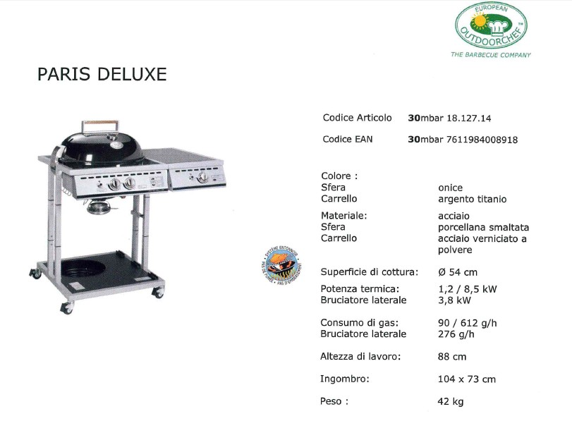 Barbecue Outdooerchef a gas PARIS DELUXE diam 57-4793