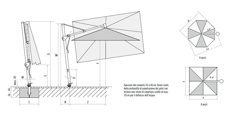 Ombrellone GLATZ retrattile SOMBRANO S+-4816