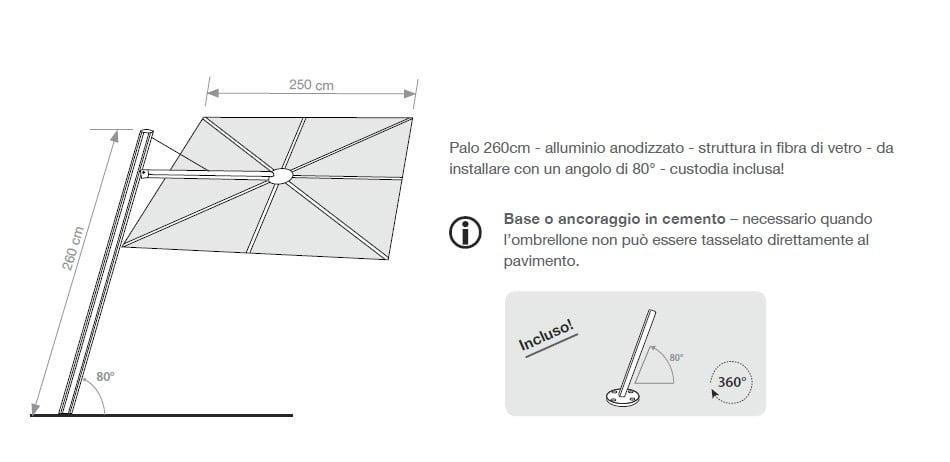 Ombrellone Umbrosa pensile SPECTRA QUADRA AVANTI/DRITTO CM 250 x 250 -5004