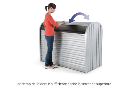 baule Biohort STOREMAX, APERTURA DELLA SERRANDA SUPERIORE