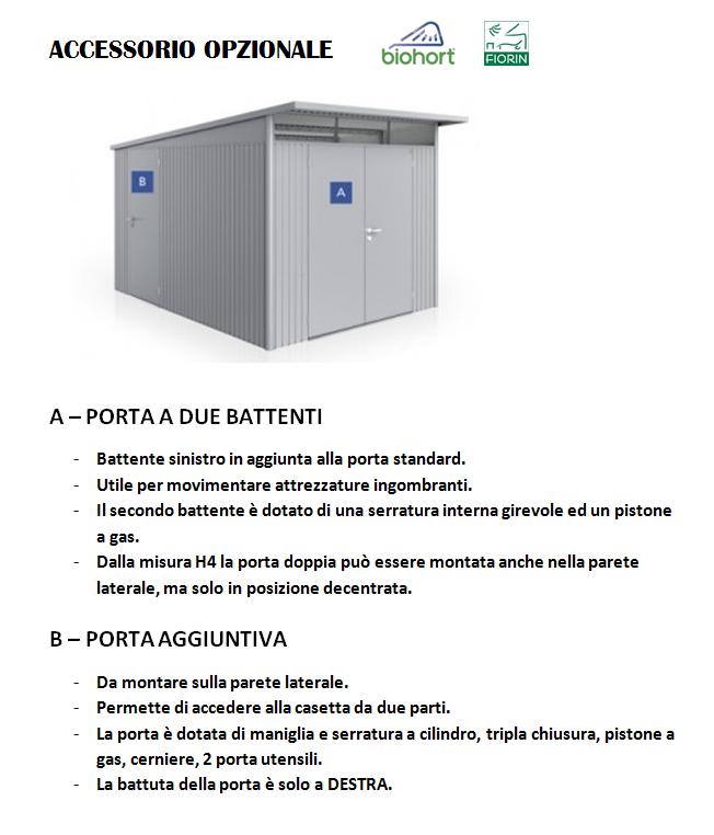 CASETTA Biohort IN METALLO MODELLO AVANTGARDE, porta aggiuntiva
