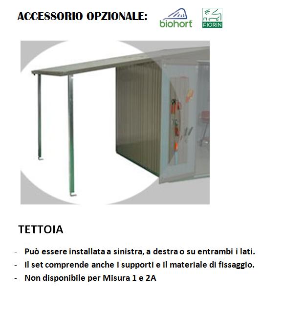 CASETTA Biohort IN METALLO MOD. EUROPA, Tettoia
