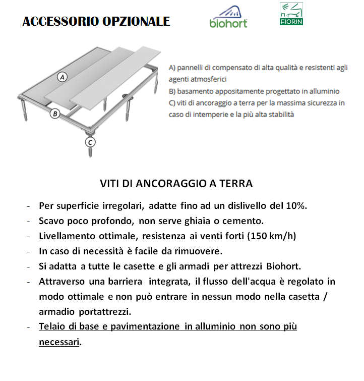 CASETTA Biohort IN METALLO MODELLO AVANTGARDE, viti di ancoraggio