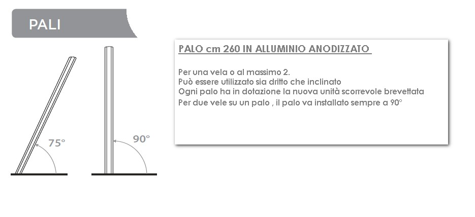 PALO PER VELA UMBROSA CM 260 IN ALLUMUNIO-5557