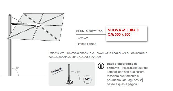 Ombrellone pensile SPECTRA QUADRA AVANTI/DRITTO cm 300 x 300