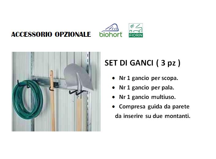 CASETTA BIOHORT in metallo HIGHLINE, SET DI GANCI