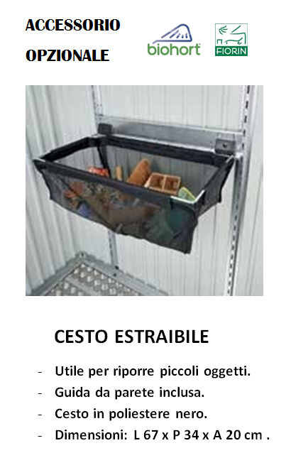 CASETTA BIOHORT in metallo HIGHLINE, CESTO ESTRAIBILE