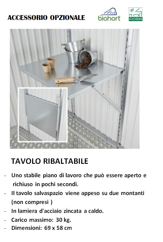 CASETTA BIOHORT in metallo HIGHLINE, TAVOLO RIBALTABILE