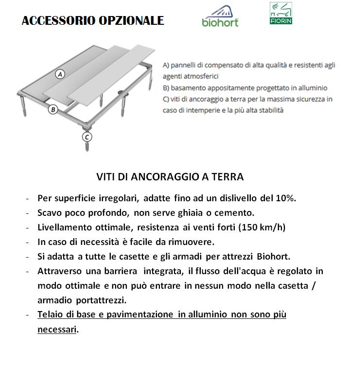 CASETTA BIOHORT in metallo HIGHLINE, VITI DI ANCORAGGIO A TERRA