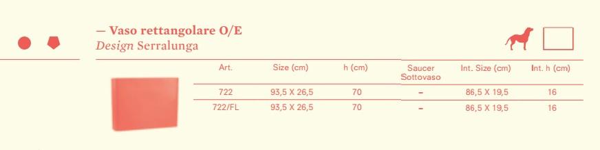 VASO SERRALUNGA modello rettangolare E / O