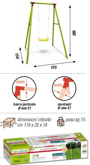 ALTALENA IN METALLO FLAMINGO , TRASPORTO COMPRESO-9392