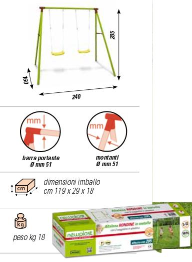 ALTALENA IN METALLO RONDINE , TRASPORTO COMPRESO-9396
