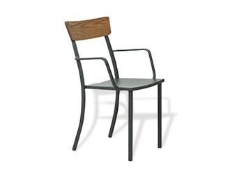 Sedia MOGAN CON BRACCIOLO, con schienale in legno , Vermobil