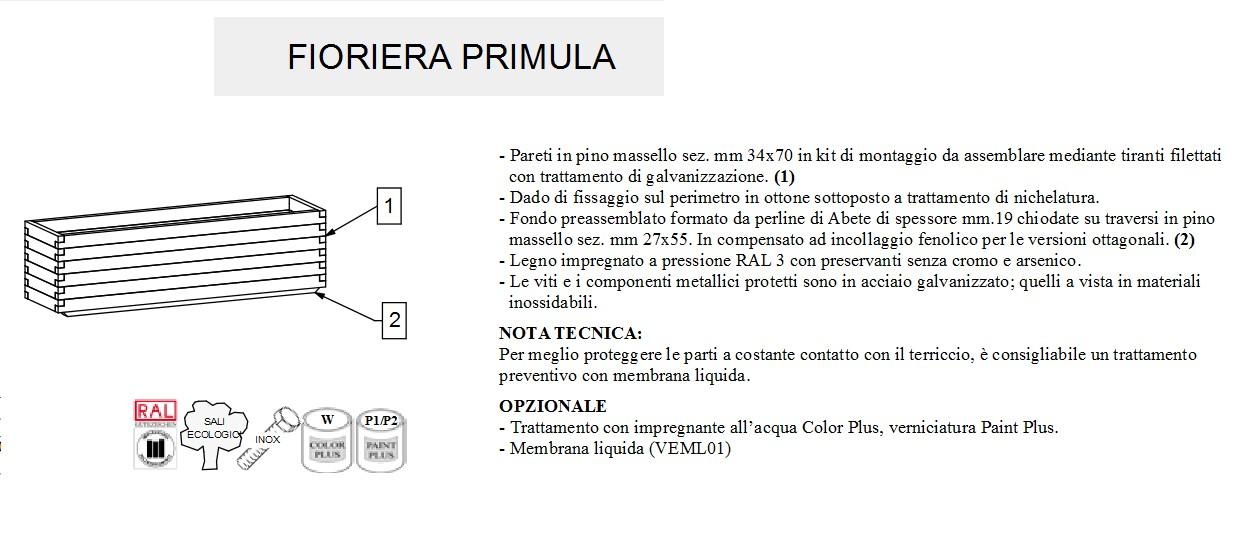 Fioriera PRIMULA profondità cm 40 -14006