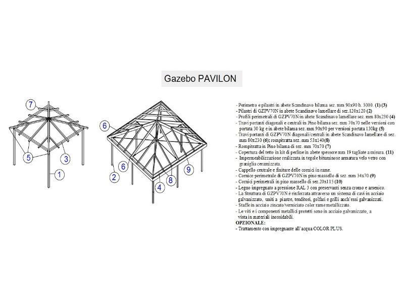 Gazebo Fiorin in legno Pavillon 3