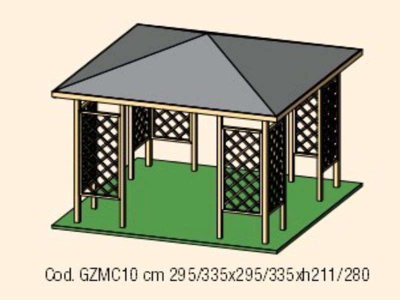 Gazebo in legno modello MALAGA copertura in tavole 2