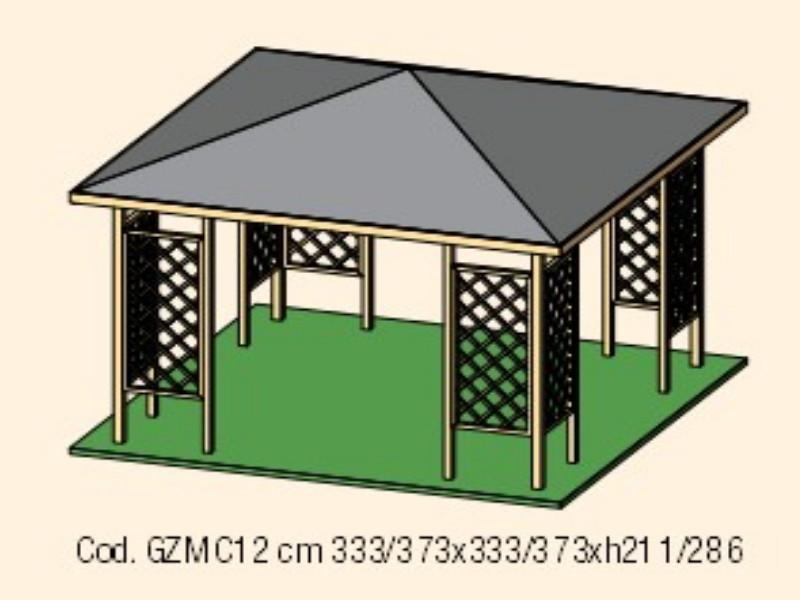 Gazebo in legno modello MALAGA copertura in tavole 3