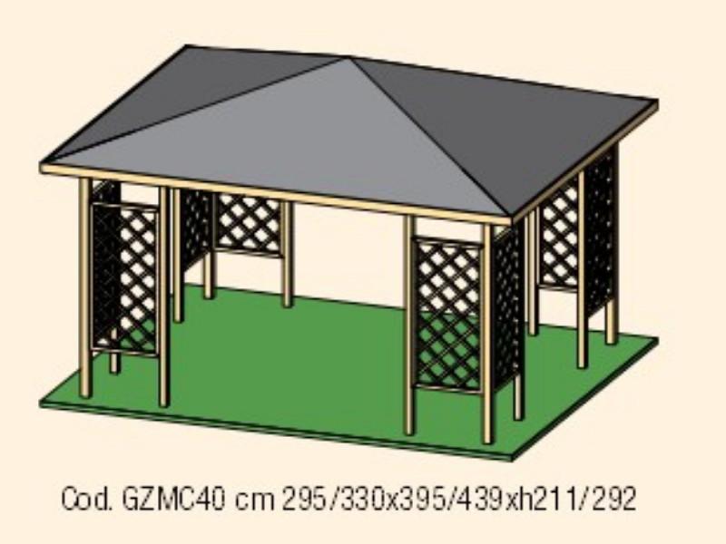 Gazebo in legno modello MALAGA copertura in tavole 4