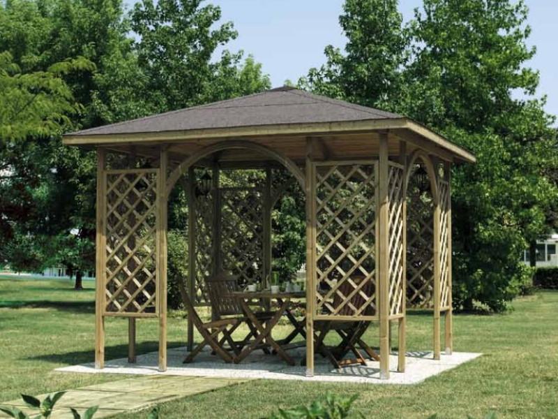 Gazebo in legno modello MALAGA copertura in tavole