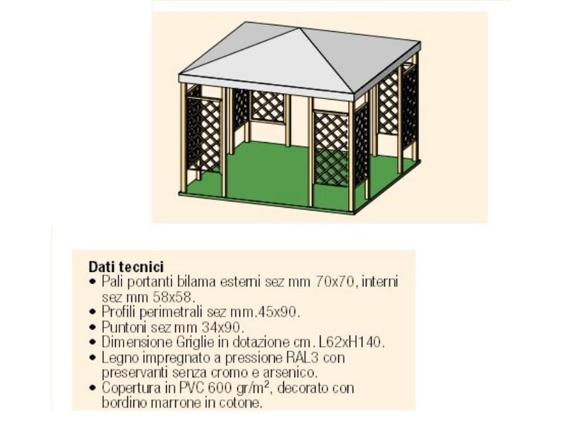 Gazebo in legno modello Malaga copertura in telo pvc 2