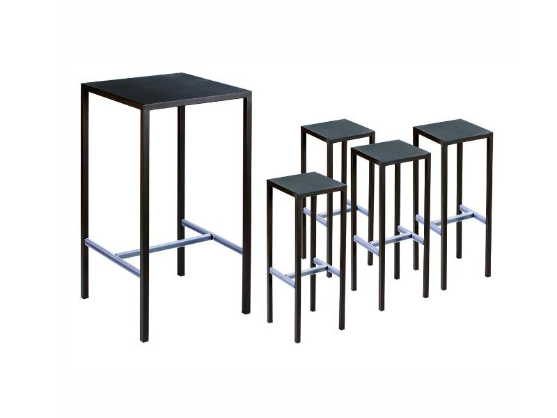 Kit tavolo e quattro sgabelli in acciaio seaside vermobil