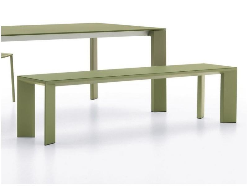 Panca in alluminio verniciato Grande Arche verde salvia 5805