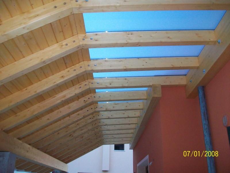 pergola Fiorin in legno copertura tavole-vetro 3