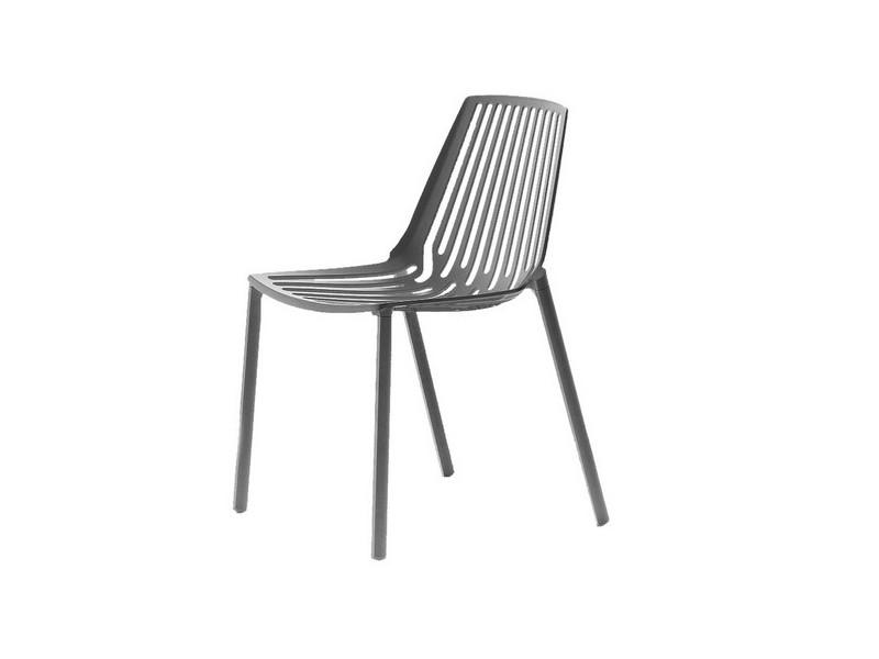 Sedia Rion di Fast in alluminio verniciato con braccioli grigio metallo 850