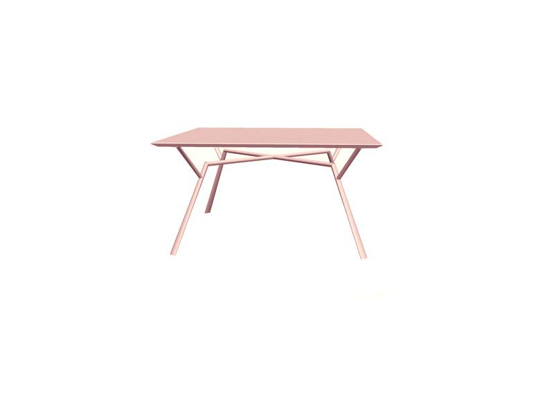 Tavolo quadrato RADICE QUADRA in alluminio verniciato di Fast oro perlato