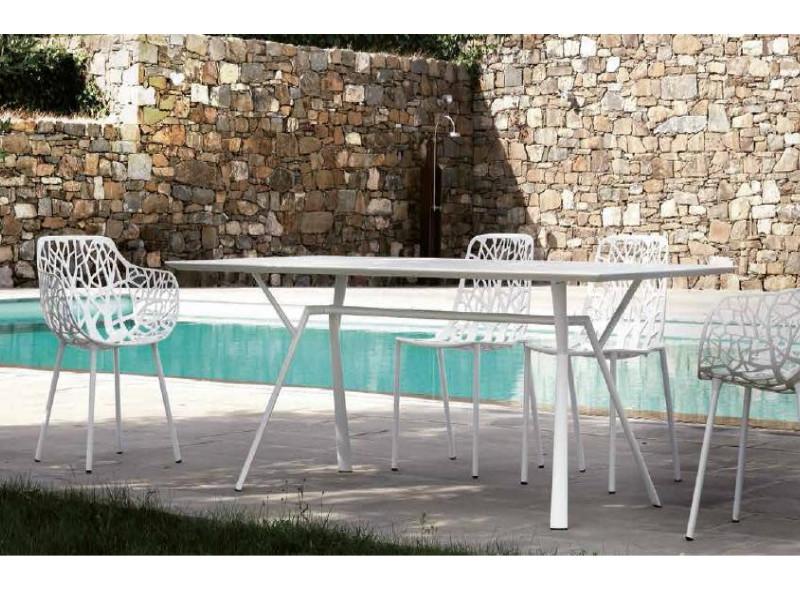 Tavolo rettangolare RADICE QUADRA in alluminio verniciato di Fast arredo piscina alto