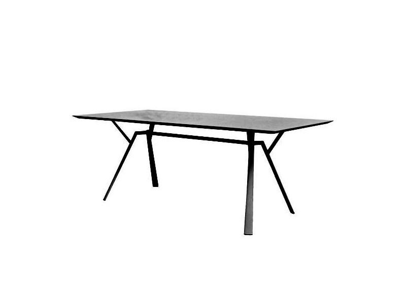 Tavolo rettangolare RADICE QUADRA in alluminio verniciato di Fast grigio metallo 2