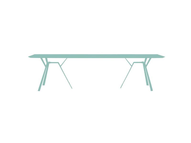 Tavolo rettangolare in alluminio radice quadra di fast azzurro pastello