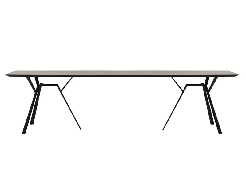 Tavolo rettangolare in alluminio radice quadra di fast nero img