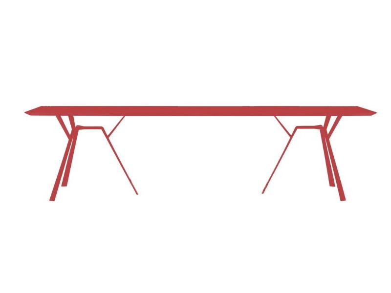 Tavolo rettangolare in alluminio radice quadra di fast rosso corallo