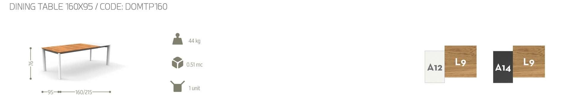 tavolo domino talenti cm 95x160-215