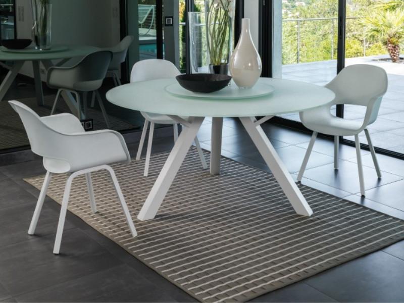 Tavolo rotondo Circle Talenti con piano in vetro bianco composizione