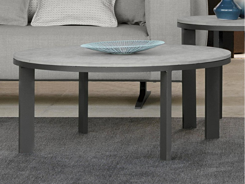 Coffee Table Eden tavolo basso bianco in gres tortora diametro 60 cm EDNTC60 arredo