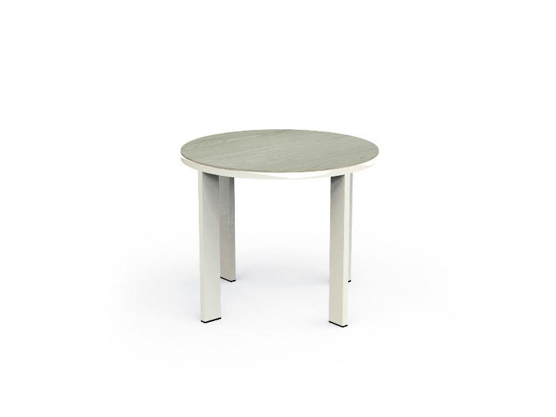 Coffee Table Eden tavolo basso bianco in gres tortora diametro 60 cm EDNTC60