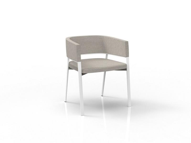 Padded tube chair sedia Eden Talenti con schienale tinta bianco e tortora EDNPPZ